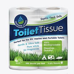 Septic Tank Safe Toilet Tissue (2-Ply, 4 Rolls) For RV, Camping & Marine, Biodegradable, - Natural Alternative to Septic System Treatment Chemicals, Cleaner, Enzymes, Chlorine Tablets. For product info go to:  https://www.caraccessoriesonlinemarket.com/septic-tank-safe-toilet-tissue-2-ply-4-rolls-for-rv-camping-marine-biodegradable-natural-alternative-to-septic-system-treatment-chemicals-cleaner-enzymes-chlorine-tablets/