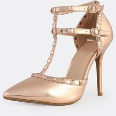 SheIn(sheinside) Studded Metallic Pumps ROSE GOLD ($43) ❤ liked on Polyvore featuring shoes, pumps, rose gold shoes, high heel stilettos, stiletto pumps, high heeled footwear and d orsay pumps