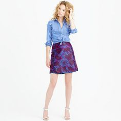 J.Crew - Mini skirt in midnight floral jacquard - J - Love this with a white T and nude shoes