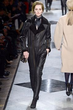 Loewe black leather and shearling lined long sleeved jumpsuit