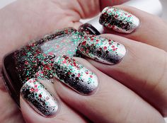 Silver with red and green glitter