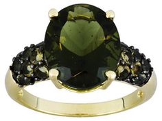 4.11ctw Oval And Round Moldavite 10k Yellow Gold Ring