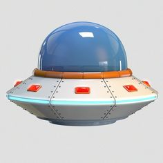 Low Poly Cartoon UFO   3D Model