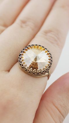 Vintage Style Golden Shadow Swarovski Ring from EarringsNation Gold Weddings Vintage Style Weddings