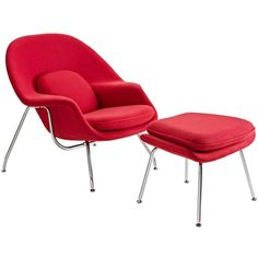 Modway Eero Saarinen Style Chair/ Ottoman Set ($693) ❤ liked on Polyvore featuring home, furniture, chairs, red, ship furniture, midcentury furniture, mid century modern chairs, armrest chair and mid century chair