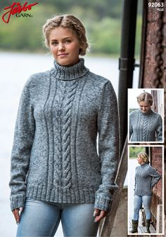 Knitted sweater with braids and polo neck.