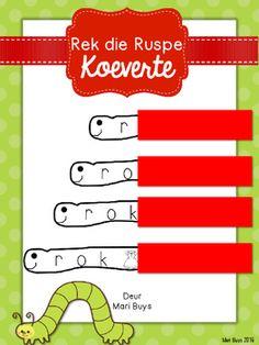 Hierdie gratis ruspes leer die Graad 1 kind om klanke saam te voeg tot 'n word.9 ruspes met die volgende woorde:roksonnarmeswolkarnetmankat