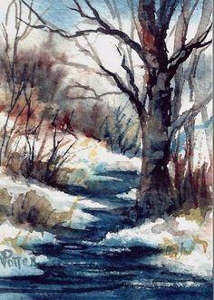 Creek in Winter Watercolor