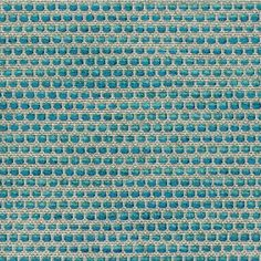 Fabrics & Papers Zamba Fabric A distinctive fabric with a pattern of turquoise and pale jade chenille dots in horizontal rows, woven in relief on a linen coloured ground.