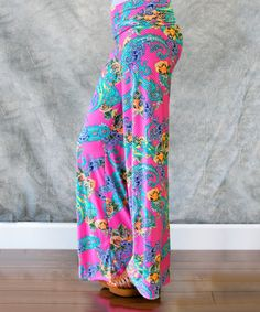 Pink & Blue Paisley Palazzo Pants - Women by Sawyer Cove #zulily #zulilyfinds