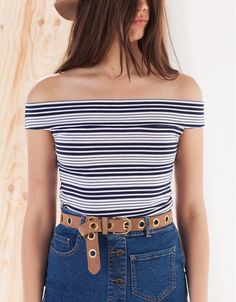 Stradivarius Off-the-Shoulder Striped Top