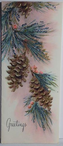 60s Glittered Pinecones Vintage Christmas Card 181   eBay