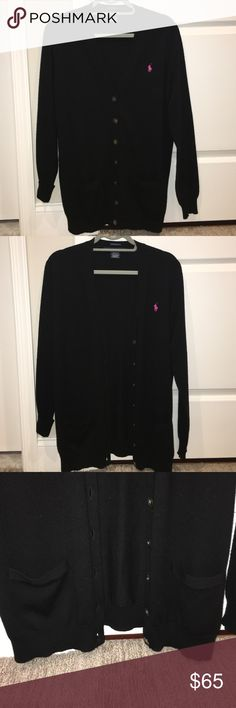 BRAND NEW Ralph Lauren V neck black cardigan BRAND NEW, never before worn Ralph Lauren Sport cardigan- boyfriend fit. Black with a pink horse symbol. Buttons up about 3/4 the way up. Pockets on both sides of buttons. A fall essential, perfect with jeans a tshirt and some boots! PRICE NOT FIXED, OPEN FOR NEGOTIATION- just make offer, no offense taken Ralph Lauren Sweaters Cardigans