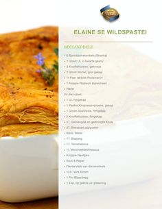 South African Recipes, Ethnic Recipes, Venison, Lunches And Dinners, Kos, Lazy, Meal Planning, Side Dishes, Recipies