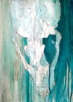 Blue & White - Skull Illustration by Rudolf Liebenberg http://rudolfliebenberg.co.za