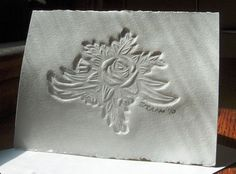 Handmade Card  Embossed Rose with Recycled by TuckamoreDesign, $5.75