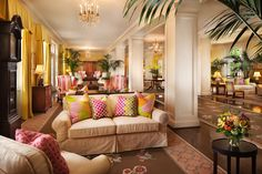 Classic furnishings with pops of color.