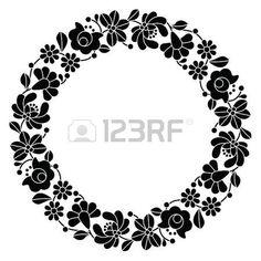 Daire Kalocsai siyah nakış - Macar çiçek halk desen photo