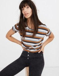Whisper Cotton Crewneck Tee in Marion Stripe in raindrop bl flycatcher image 1 Ankle Boots With Jeans, How To Wear Ankle Boots, Cuffed Jeans, Shirt Tucked In, Striped Tee, Outfit Of The Day, Madewell, Crew Neck, Clothes For Women