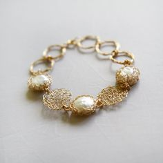 Items similar to Gold Pearl bracelet bridesmaid, Woman Gold Pearl Bracelet, Gold Crochet Bracelet, Handmade Statement Bracelet, summer wedding on Etsy Bridesmaid Bracelet, Wedding Bracelet, Bridal Necklace, Wedding Jewelry, Gold Necklace, Handmade Pearl Jewelry, Handmade Bracelets, Jewelry Bracelets, Wire Jewellery