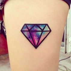 These Watercolor Tattoos Are The Prettiest Things You'll See All Day #refinery29 http://www.refinery29.com/2016/04/109196/watercolor-tattoos#slide-6 This diamond in the sky (shoutout to RiRi) combines heavy line work with saturated watercolor....