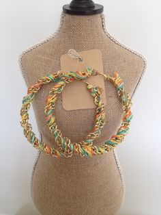 Chain & Thread Wrapped Hoop Earrings by EmaniWolf on Etsy, $27.07