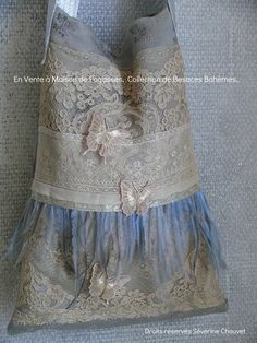 Vintage lace bag....  lace, mesh over denim...add lace and embroider and bead....