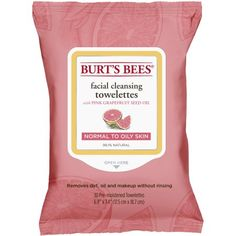 Burt's Bees Facial Cleansing Towelettes, Pink Grapefruit, 30 Count, Beige