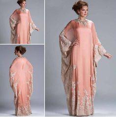 Online Shop Custom Made Hot Sale Floor Length Chiffon Coral Lace Appliqued Arabic Dubai ABAYA Kaftan Evening Dresses with Long Sleeve Arab Fashion, Islamic Fashion, Muslim Fashion, Modest Fashion, African Fashion, Dress Fashion, Fashion Beauty, Abaya Style, Abaya Mode