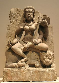Goddess Durga. Stone sculpture. Uttar Pradesh, India. 9th century.
