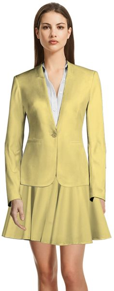 How about a yellow skirt suit made to YOUR measurements to welcome Spring? Spring New, Mellow Yellow, Skirt Suit, Summer Wardrobe, Design Your Own, Suits For Women, Custom Made, Blazer, Female