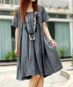 Summer pleated Linen short sleeve Long dress by MaLieb on Etsy, $79.00