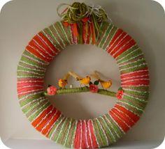 Three Sister Birds Yarn Wreath SALE via Etsy