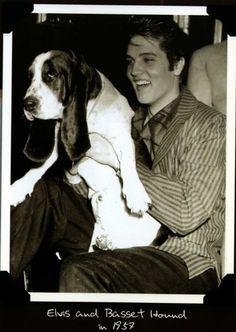 Elvis and a beautiful basset, Elvis liked basset hounds, just like me..