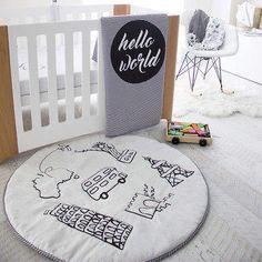 Hello World crib quilt cover #babyboyboho #baby #ad #nursery #bohobaby