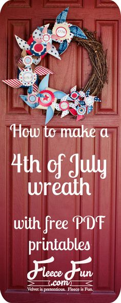 This Fourth of July wreath using these free printable.  So cute and fun to make.!  fourth of july wreath tutorial