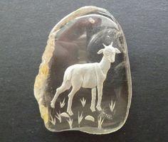 Large Smoky Quartz Intaglio Gemstone Pendant Reverse Carved Goat