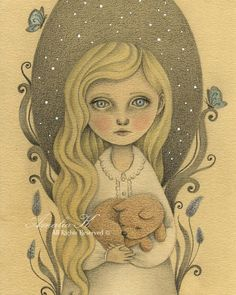 Print of Original Pencil Drawing Whimsical girl by TheWishForest, $20.00