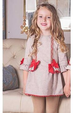 Vestido chica Dolce Petit gris y rojo con lazos