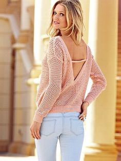 Draped Open-back Sweater - Victorias Secret -  the Marled Draped Open-back Sweater from Victoria's Secret. A daring draped open back gives this cotton boatneck drama, while marled yarn adds texture and dimension.