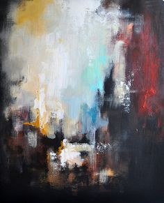 """Original Abstract Painting on Panel Modern Art Dark Red Black and White 20x24"""""""