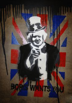 Banksy UK Exhibition LONDON - MAY 7: A stencil art piece depicting new London Mayor Boris Johnson is pictured at a giant new exhibition space created by famed graffiti artist Banksy, on May 7, 2008 in London, England. The disused tunnel beneath Waterloo station has been transformed by 30 artists from around the world. The three day event, tagged as the 'Cans festival', also invites the public to add their own stencil art. (Photo by Jim Dyson/Getty Images)