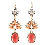 European (Oval Drop) Orange Alloy With Rhinestone Drop Earrings