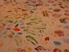 Decorating a tablecloth by printing from natural objects Sydney Gardens, Objects, Printing, Group, Decorating, Natural, Creative, Art, Decoration