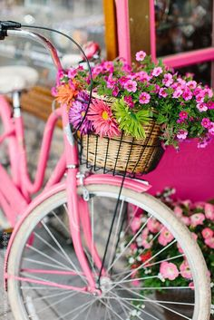 Pink cruiser bike with a basket of flowers. // by Kristen Curette