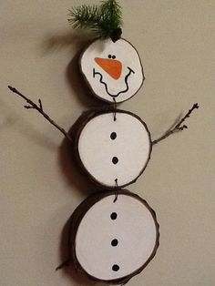 Image result for wood slice snowman