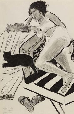 Joan Brown - Model with Cats -1972. ink, charcoal, graphite on paper.