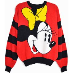 Vintage Disney Minnie Mouse Sweater in Red Black ($68) ❤ liked on Polyvore featuring tops, sweaters, disney sweaters, mickey mouse sweater, red top, disney tops and vintage sweater