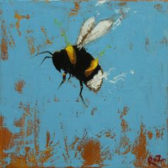Bee painting 288 12x12 inch insect animal portrait by RozArt, $85.00