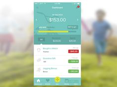 Expenses log app for children money saving.